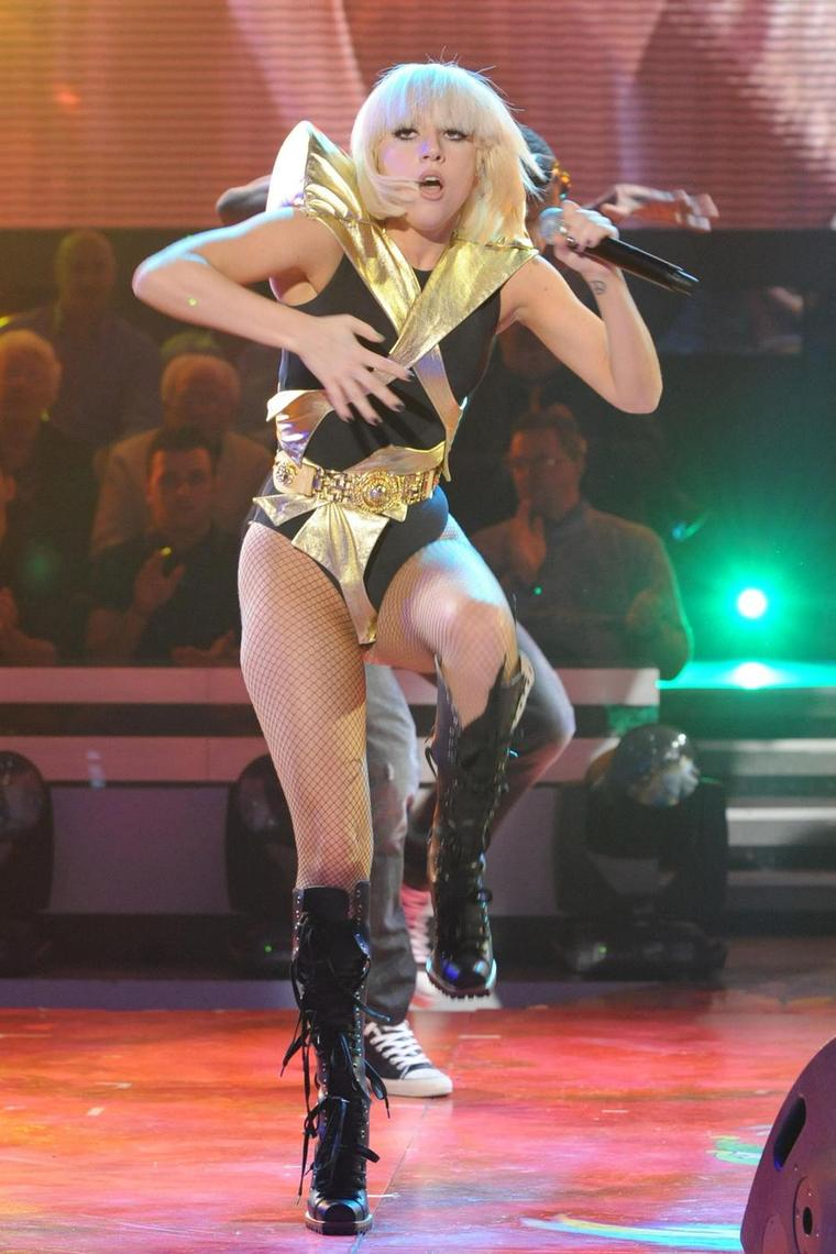 "RESTRICTIONS APPLY: Lady GaGa performs on the Italian TV show ""Quelli che il calcio e..."""
