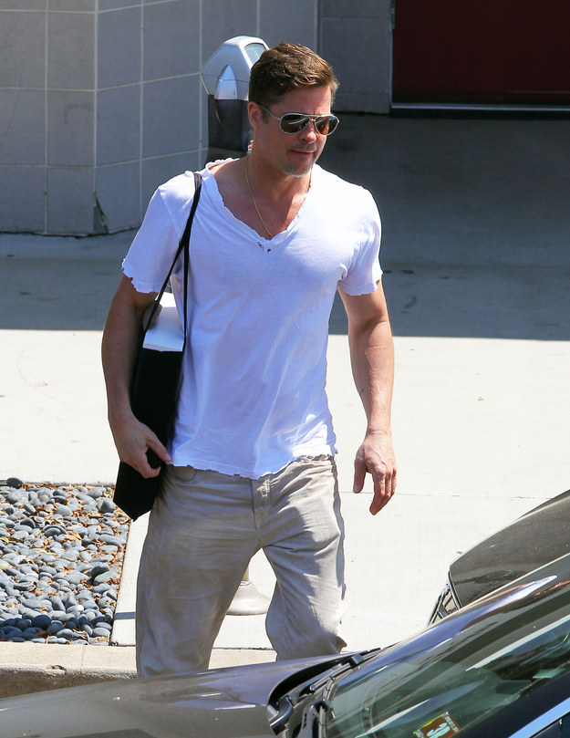 brad pitt 50 years los angeles april 2014