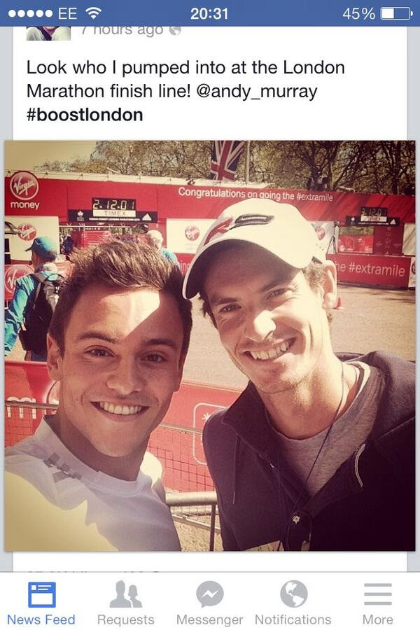 tom daley andy murray pumped bumped london maraton