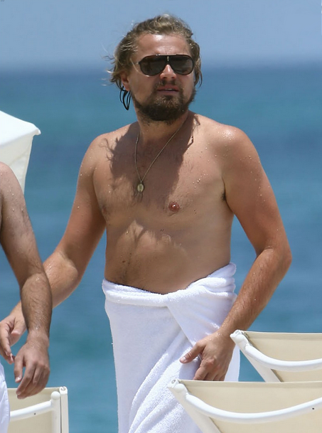 leonardo dicaprio fat beach hot