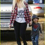 Christina Aguilera takes her son Max to Mr Bones Pumpkin Patch.