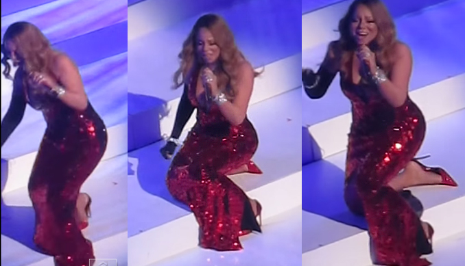 Mariah Carey falls New York