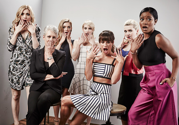 "SAN DIEGO, CA - JULY 11:  (L-R) Actresses Skyler Samuels, Jamie Lee Curtis, Billie Lourd, Emma Roberts, Lea Michele, Abigail Breslin, and Keke Palmer of ""Scream Queens"" pose for a portrait at the Getty Images Portrait Studio Powered By Samsung Galaxy At Comic-Con International 2015 at Hard Rock Hotel San Diego on July 11, 2015 in San Diego, California.  (Photo by Maarten de Boer/Getty Images)"