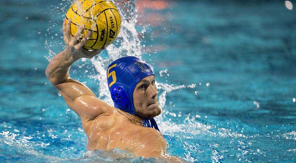 06 DEC 2015:  Ryder Roberts (5) of UCLA looks for an open teammate against USC during the Division I Men's Water Polo Championship held at the Spieker Aquatics Center on the UCLA campus in Los Angeles, CA.  UCLA defeated USC 10-7 for the national title.  Jamie Schwaberow/NCAA Photos